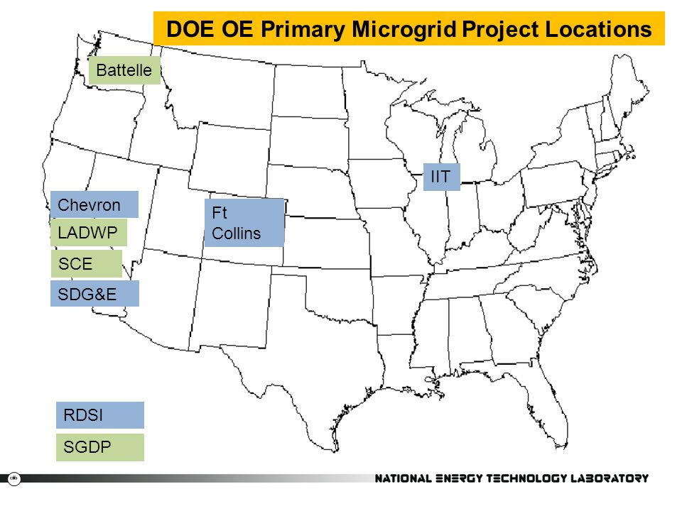 DOE OE Primary Microgrid Project Locations