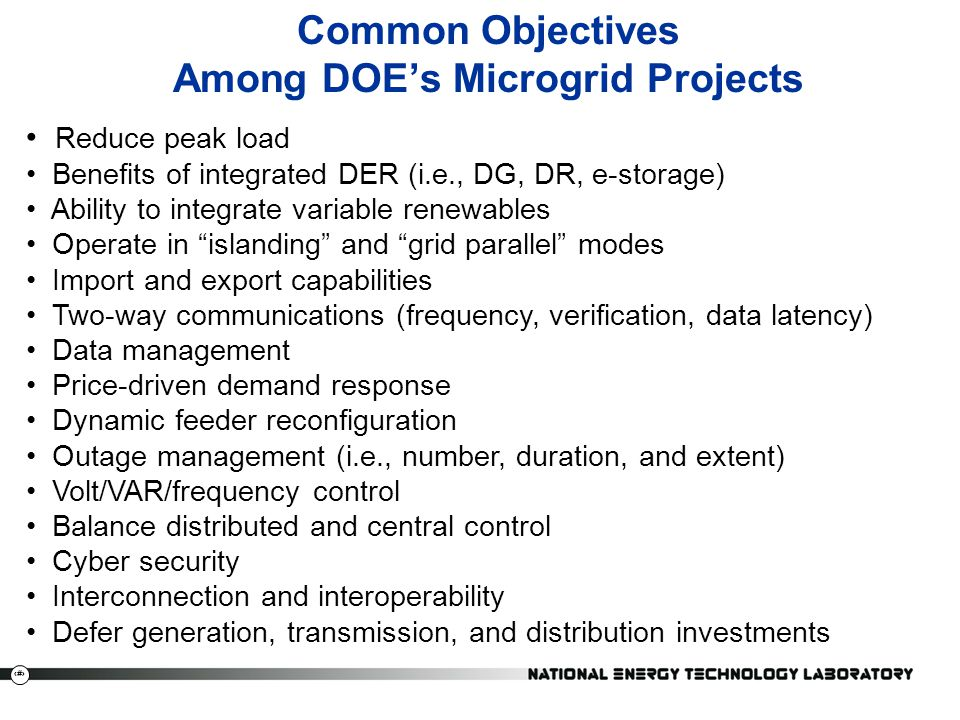 Common Objectives Among DOE's Microgrid Projects