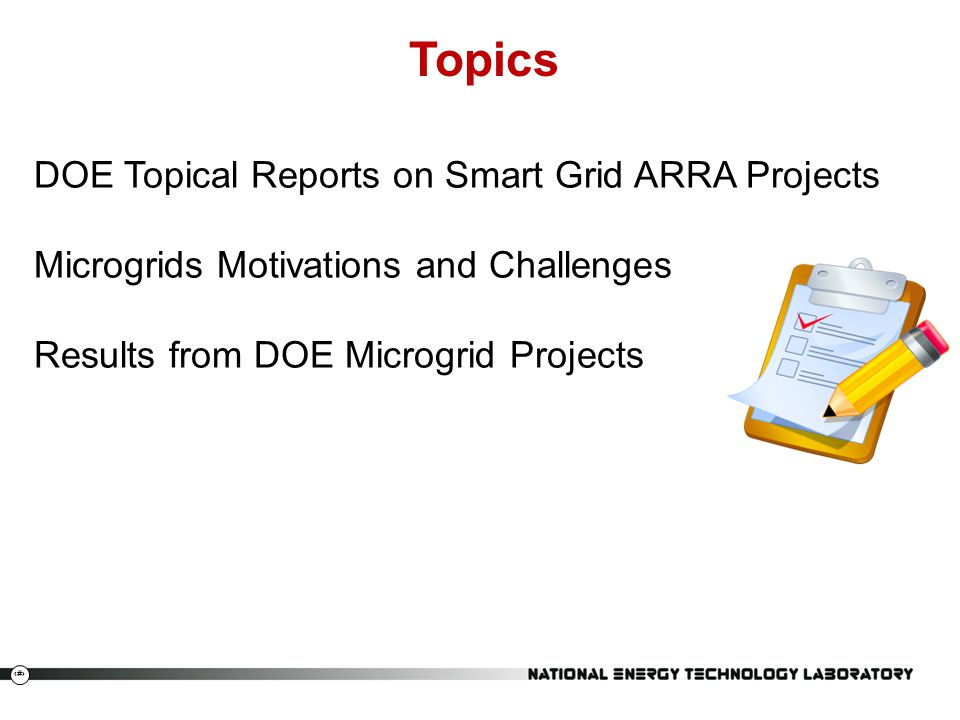 Topics DOE Topical Reports on Smart Grid ARRA Projects