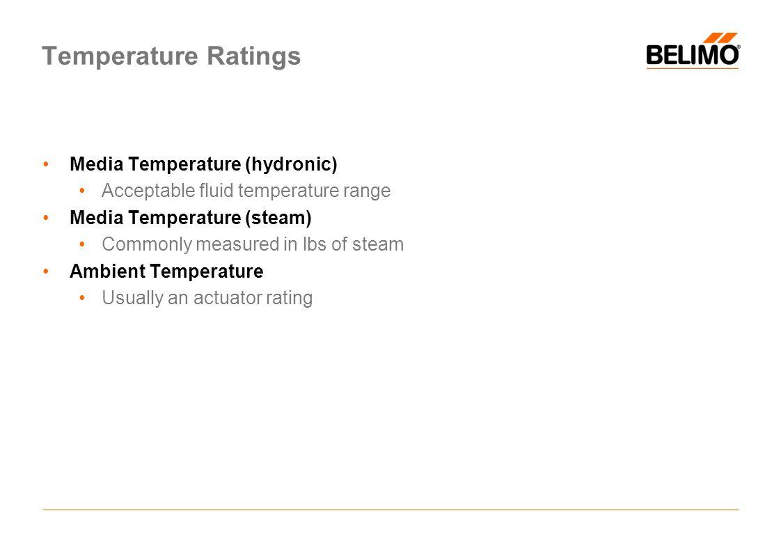 Temperature Ratings Media Temperature (hydronic)