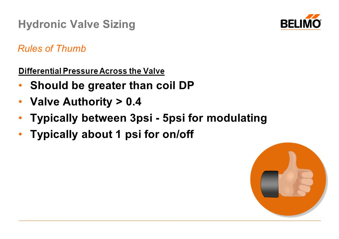 Should be greater than coil DP Valve Authority > 0.4