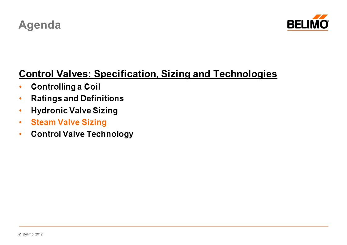 Agenda Control Valves: Specification, Sizing and Technologies