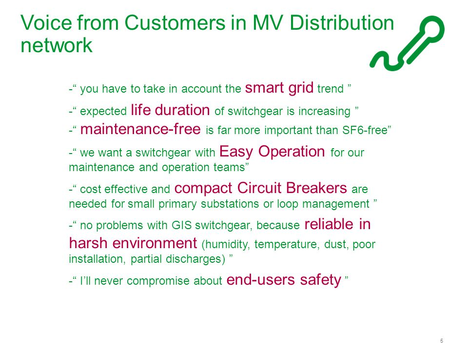 Voice from Customers in MV Distribution network