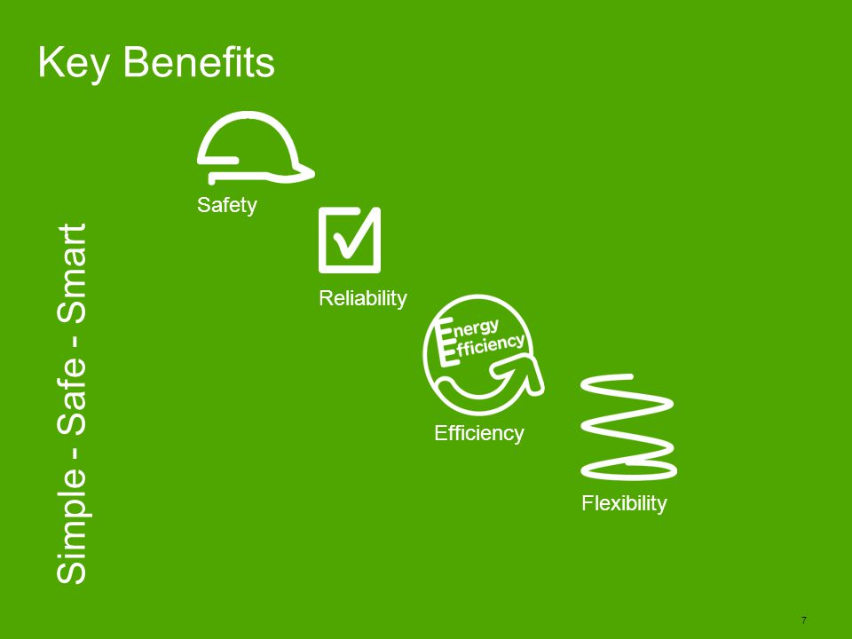 Key Benefits Simple - Safe - Smart Safety Reliability Efficiency