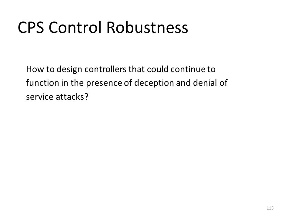CPS Control Robustness
