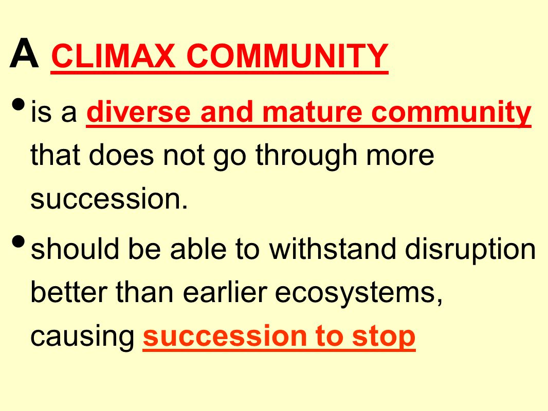 A CLIMAX COMMUNITY is a diverse and mature community that does not go through more succession.