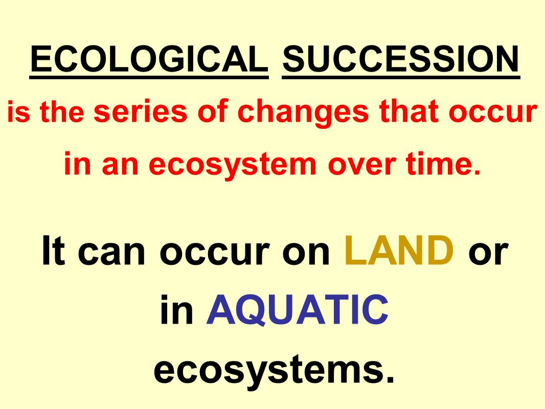 ECOLOGICAL SUCCESSION It can occur on LAND or in AQUATIC ecosystems.