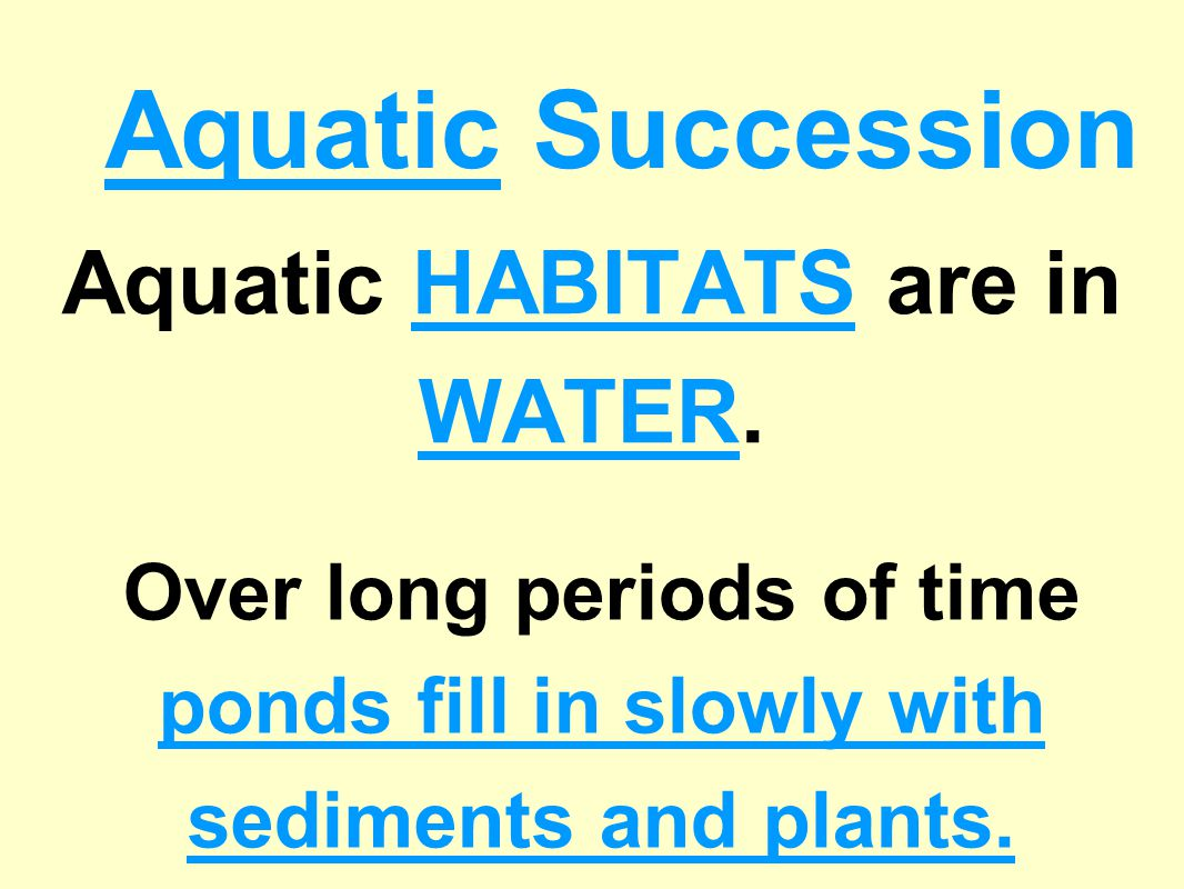 Aquatic HABITATS are in WATER.