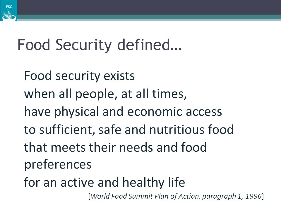 Food Security defined…