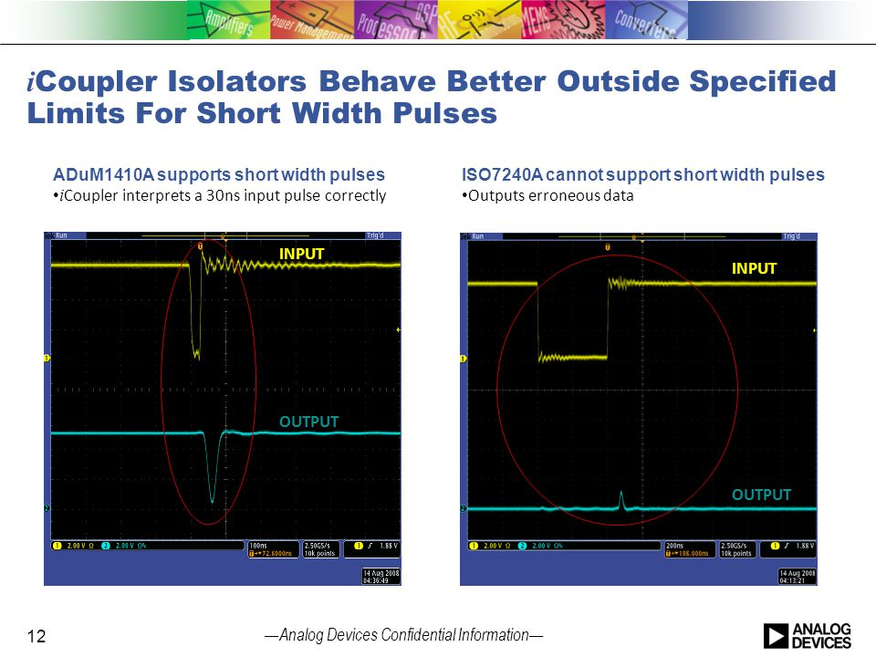 iCoupler Isolators Behave Better Outside Specified Limits For Short Width Pulses
