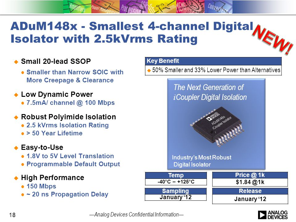 ADuM148x - Smallest 4-channel Digital Isolator with 2.5kVrms Rating