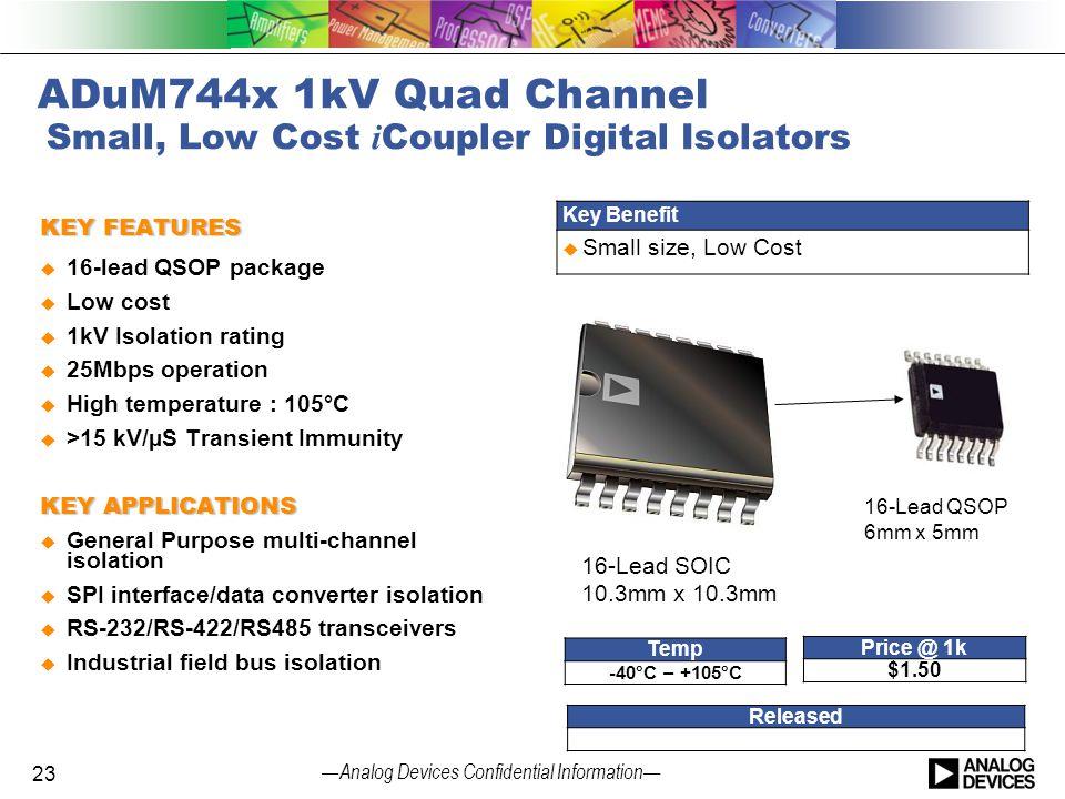 ADuM744x 1kV Quad Channel Small, Low Cost iCoupler Digital Isolators