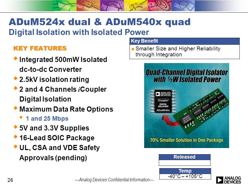 ADuM524x dual & ADuM540x quad Digital Isolation with Isolated Power
