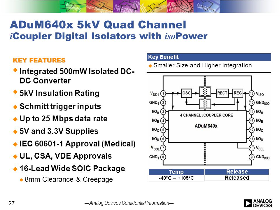 ADuM640x 5kV Quad Channel iCoupler Digital Isolators with isoPower
