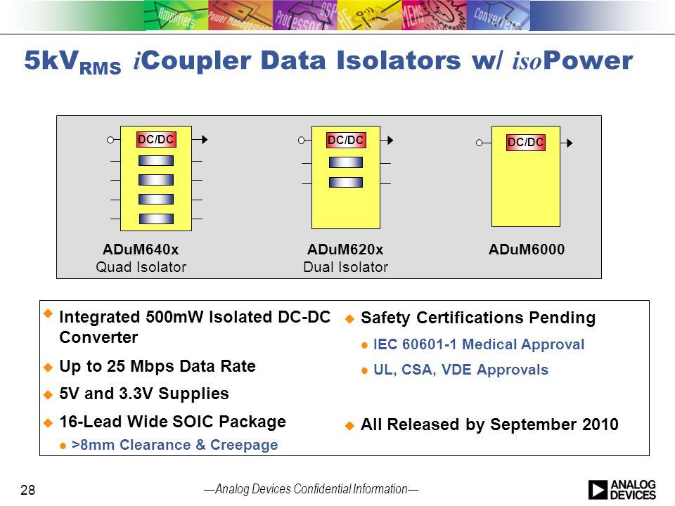 5kVRMS iCoupler Data Isolators w/ isoPower