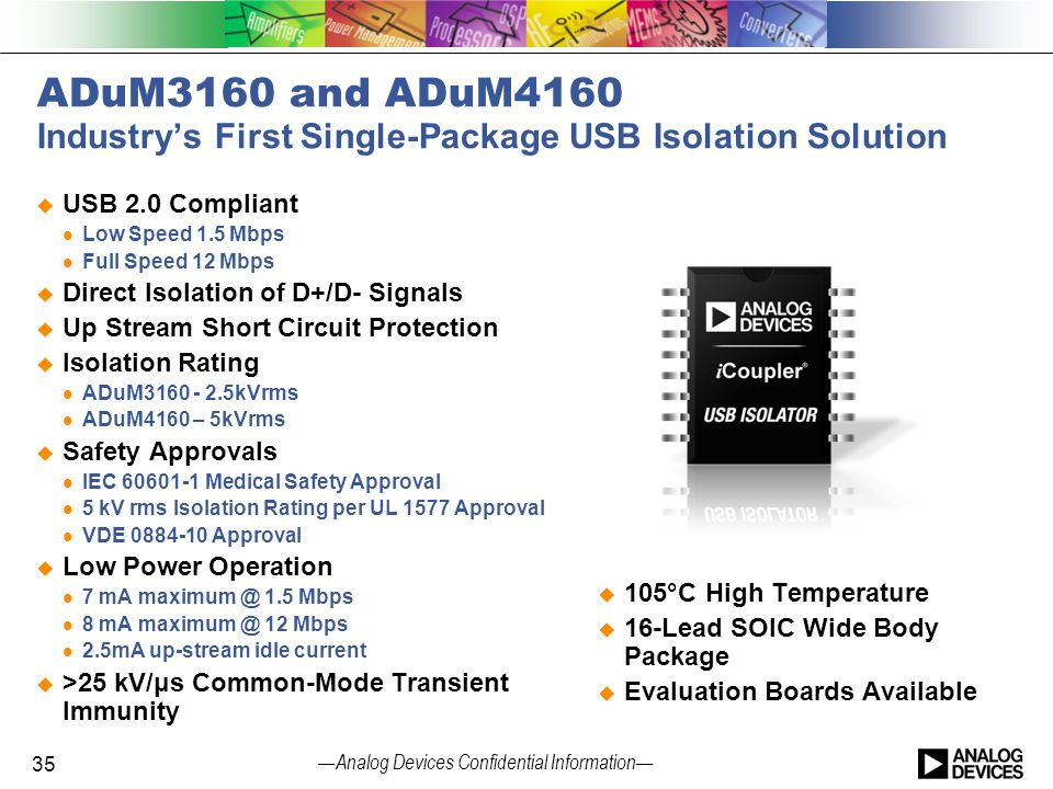 ADuM3160 and ADuM4160 Industry's First Single-Package USB Isolation Solution