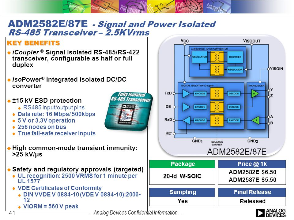 ADM2582E/87E - Signal and Power Isolated RS-485 Transceiver – 2.5KVrms
