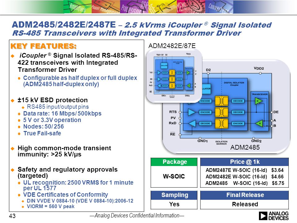 4/14/2017 ADM2485/2482E/2487E – 2.5 kVrms iCoupler ® Signal Isolated RS-485 Transceivers with Integrated Transformer Driver.