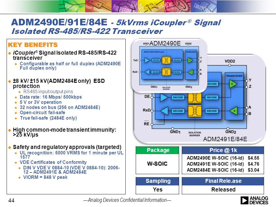 4/14/2017 ADM2490E/91E/84E - 5kVrms iCoupler ® Signal Isolated RS-485/RS-422 Transceiver. KEY BENEFITS.