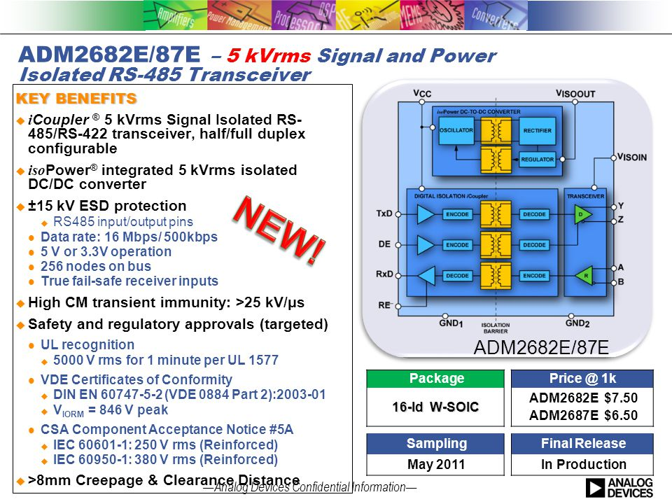 ADM2682E/87E – 5 kVrms Signal and Power Isolated RS-485 Transceiver