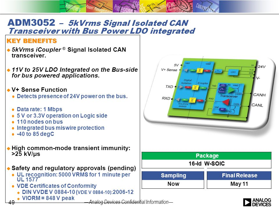 ADM3052 – 5kVrms Signal Isolated CAN Transceiver with Bus Power LDO integrated