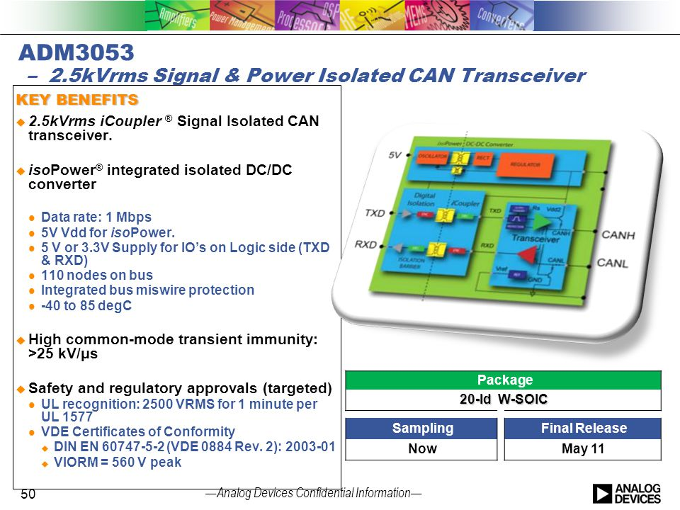 ADM3053 – 2.5kVrms Signal & Power Isolated CAN Transceiver