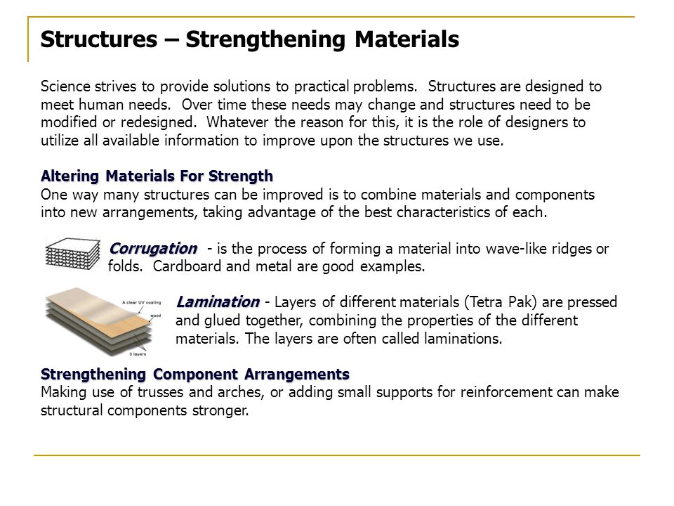 Structures – Strengthening Materials