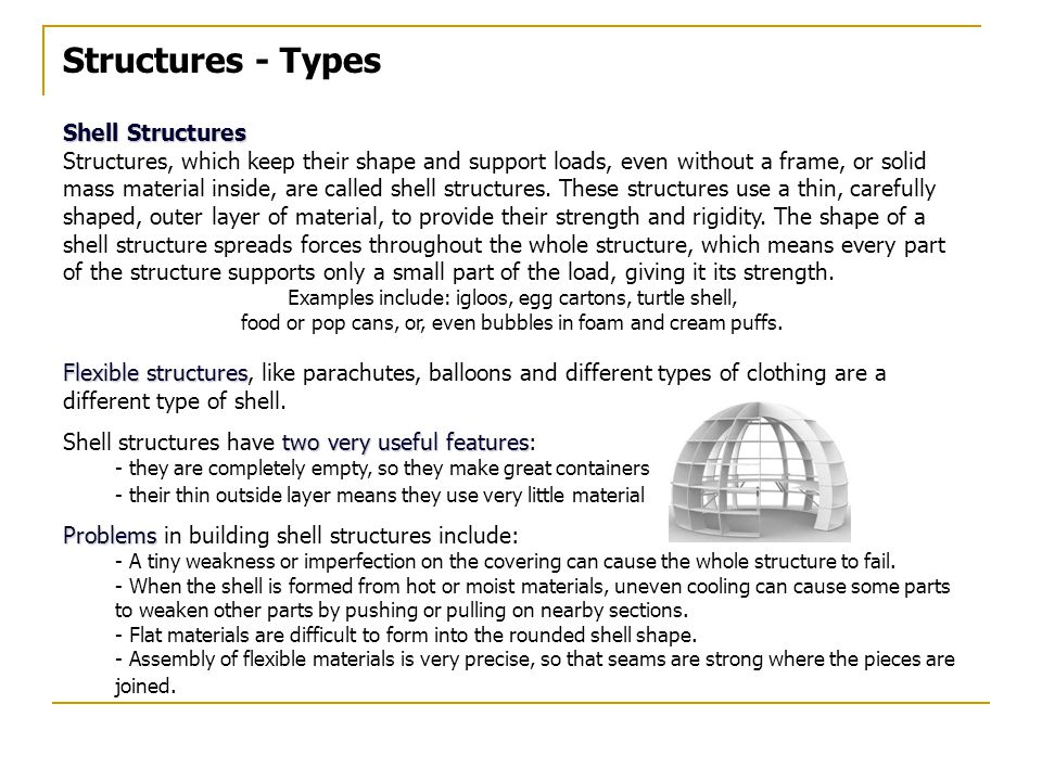 Structures - Types Shell Structures