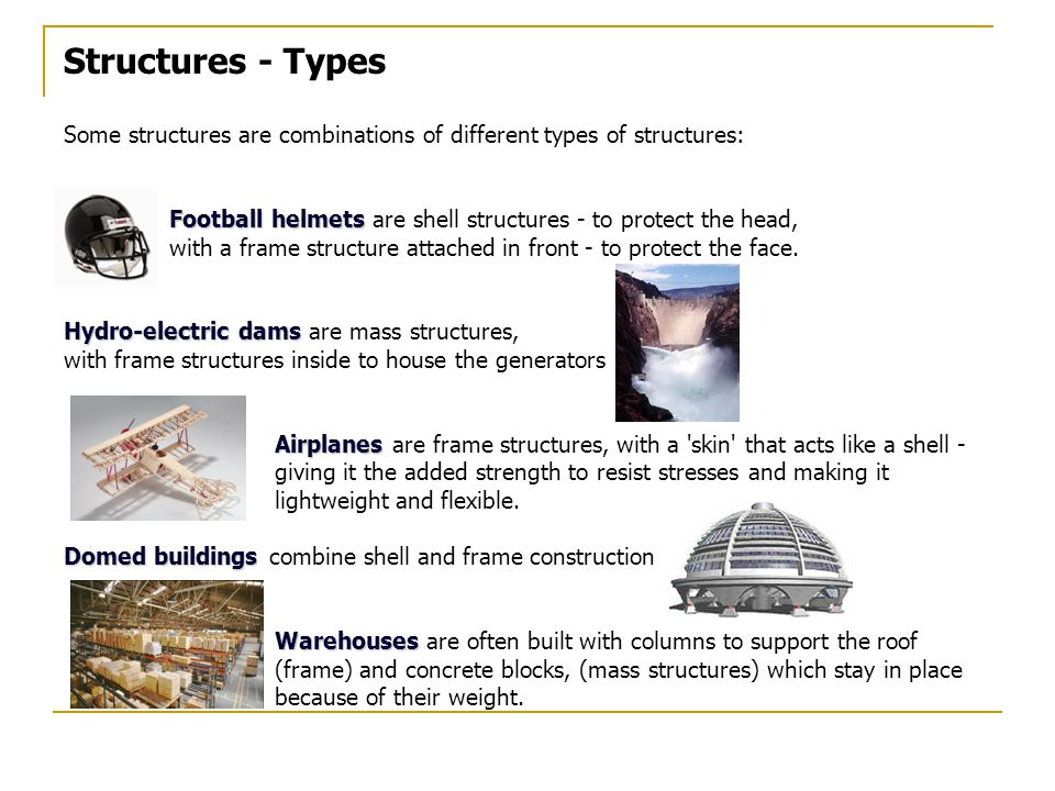 Structures - Types Some structures are combinations of different types of structures: Football helmets are shell structures - to protect the head,