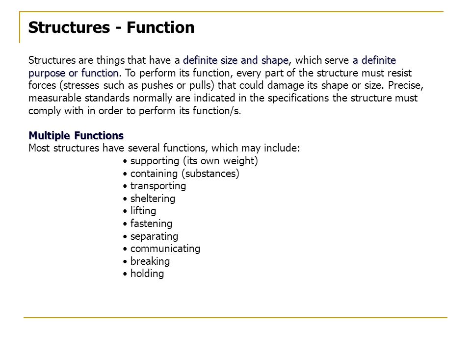 Structures - Function