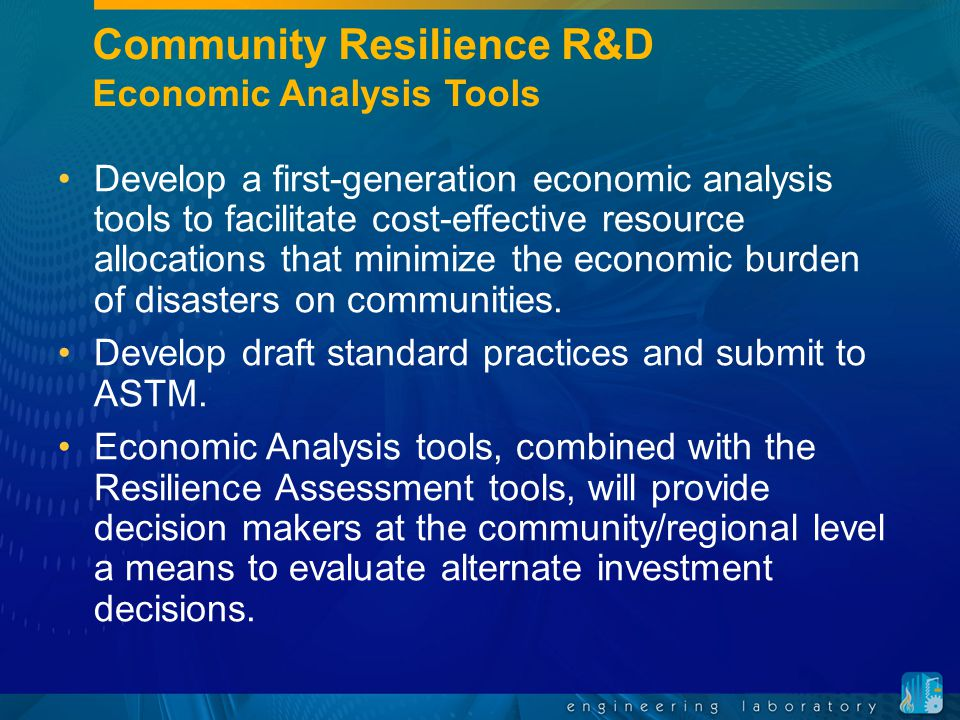 Community Resilience R&D Economic Analysis Tools