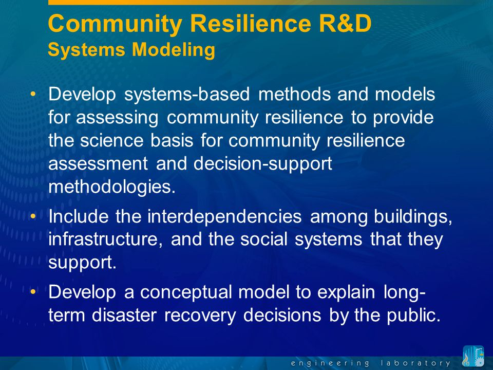 Community Resilience R&D Systems Modeling