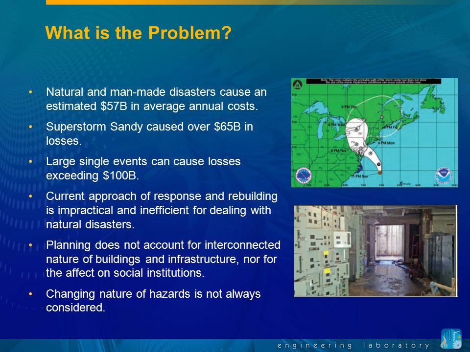 What is the Problem Natural and man-made disasters cause an estimated $57B in average annual costs.