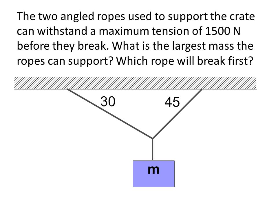 The two angled ropes used to support the crate can withstand a maximum tension of 1500 N before they break.