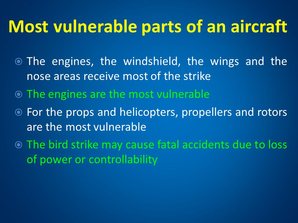 Most vulnerable parts of an aircraft