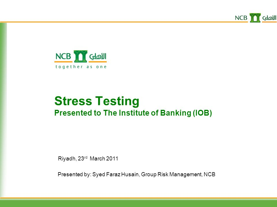Stress Testing Presented to The Institute of Banking (IOB)