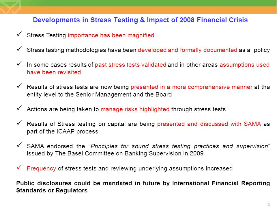Developments in Stress Testing & Impact of 2008 Financial Crisis