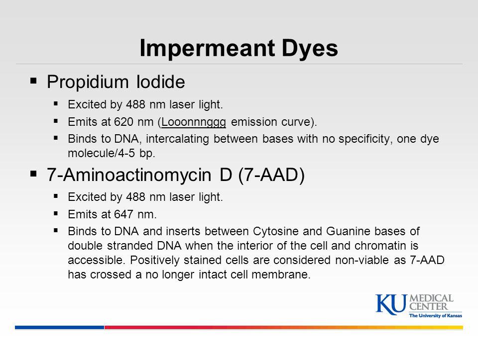 Impermeant Dyes Propidium Iodide 7-Aminoactinomycin D (7-AAD)