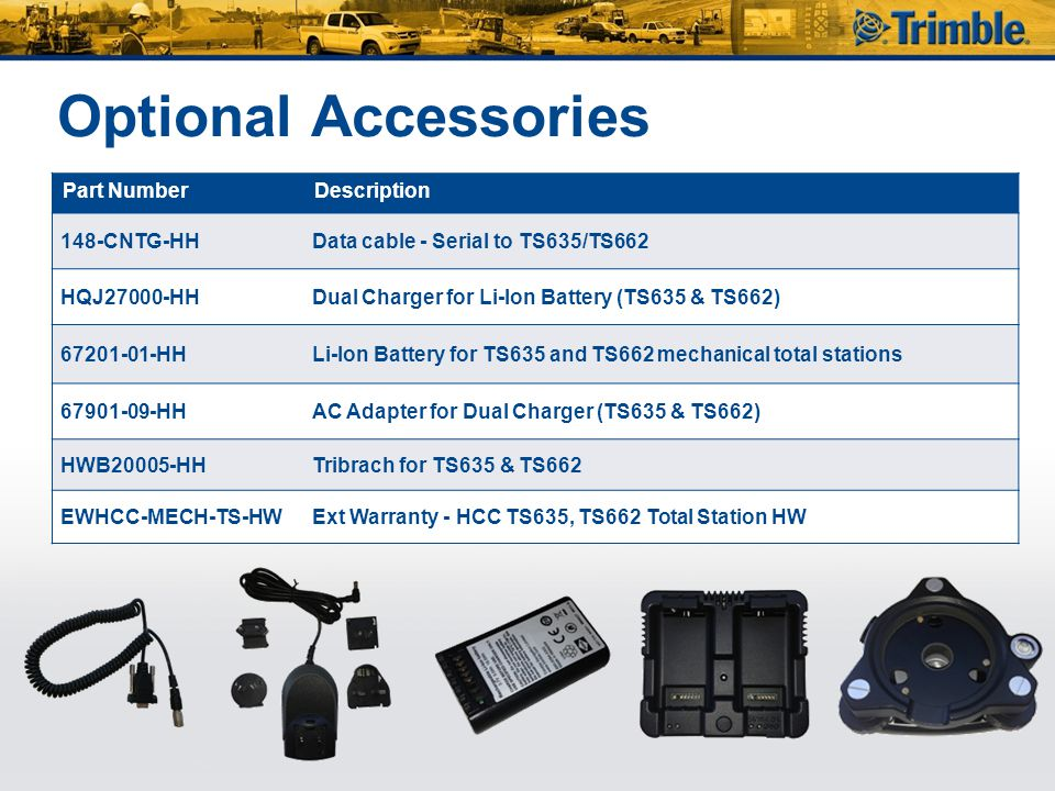 Optional Accessories Part Number Description 148-CNTG-HH