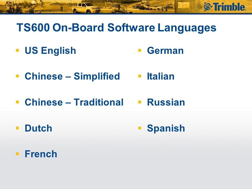 TS600 On-Board Software Languages