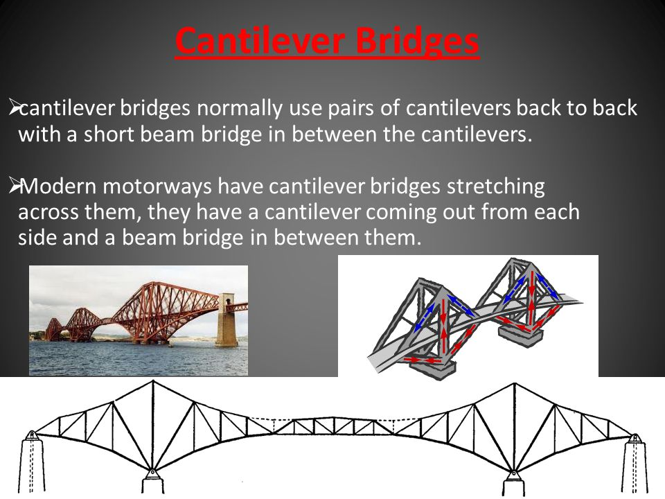 Cantilever Bridges cantilever bridges normally use pairs of cantilevers back to back. with a short beam bridge in between the cantilevers.