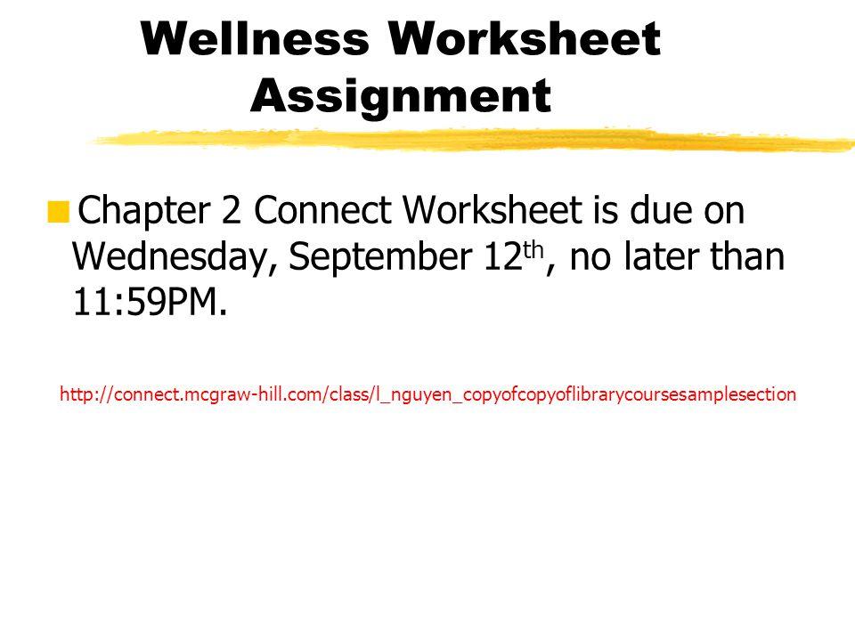Wellness Worksheet Assignment