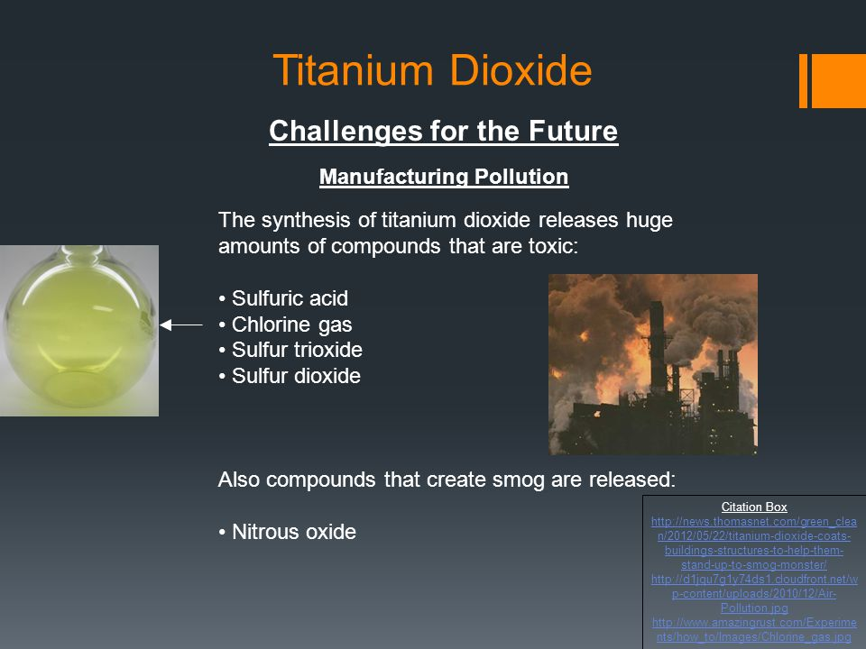 Titanium Dioxide Challenges for the Future Manufacturing Pollution