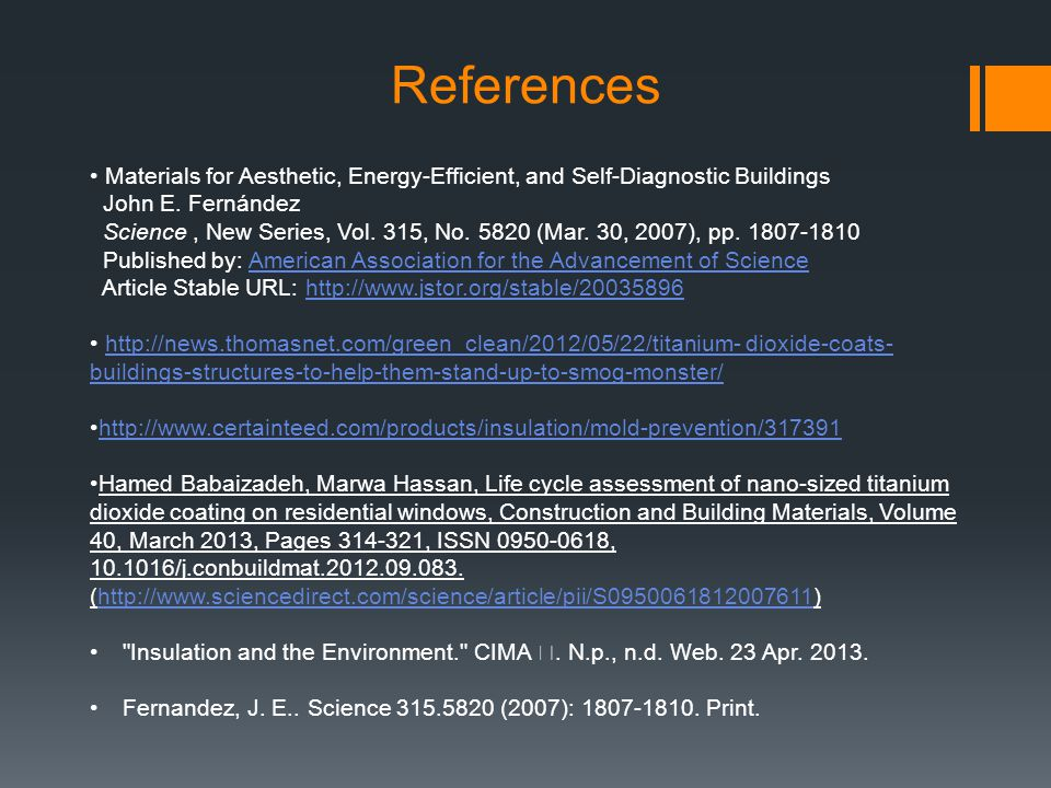 References Materials for Aesthetic, Energy-Efficient, and Self-Diagnostic Buildings. John E. Fernández.