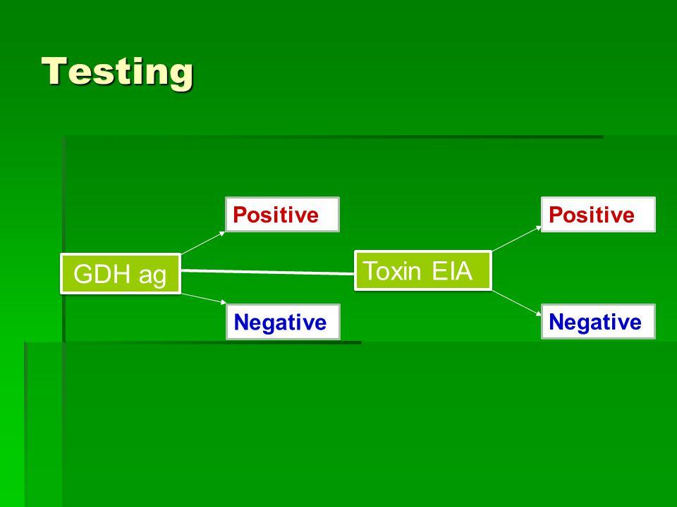 Testing Positive Positive GDH ag Toxin EIA Negative Negative