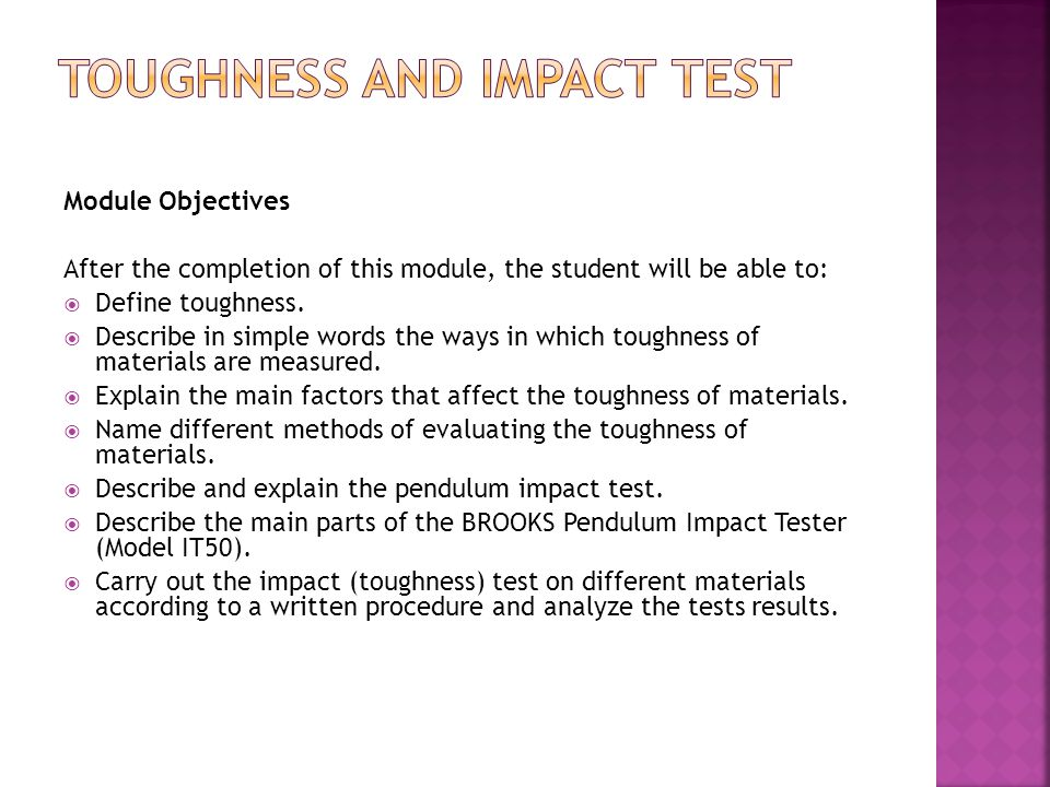 Toughness and Impact Test