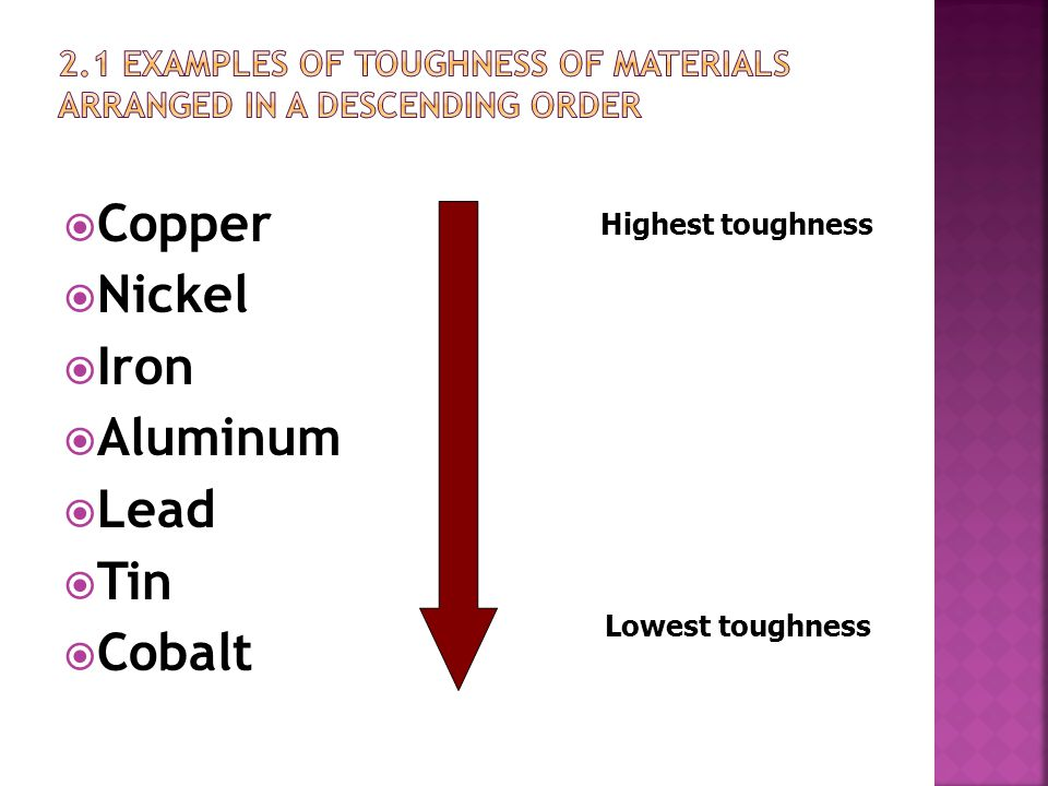 2.1 Examples of toughness of materials arranged in a descending order