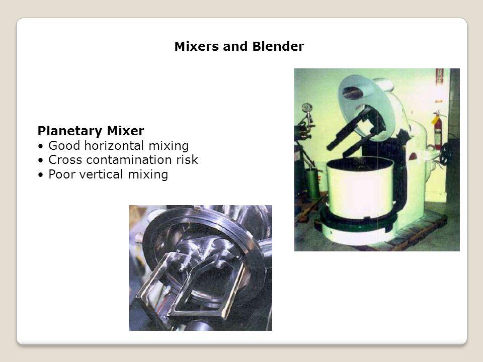 Mixers and Blender Planetary Mixer. • Good horizontal mixing.