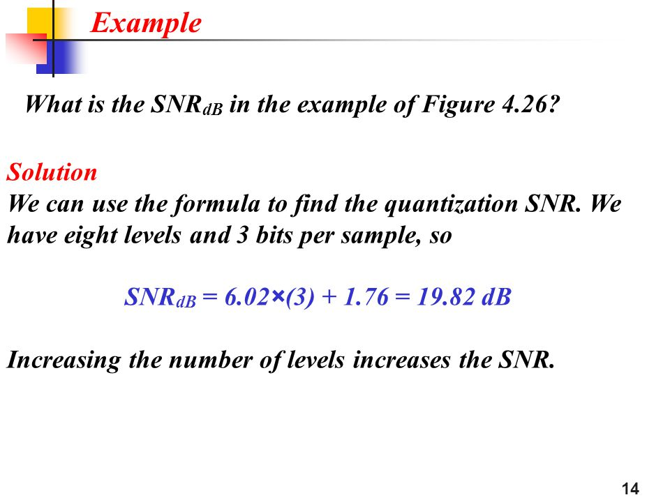Example What is the SNRdB in the example of Figure 4.26 Solution