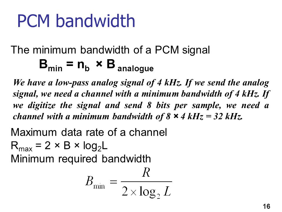 PCM bandwidth Bmin = nb × B analogue